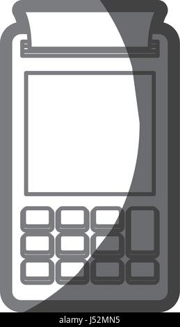 grayscale silhouette of payment terminal - Stock Photo