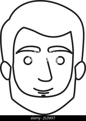 monochrome contour of man face with short hair and beard and without mustache - Stock Photo