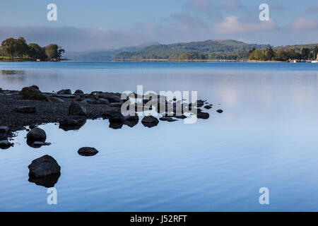 Looking along Coniston Water, from its northern tip near Monk Coniston, Lake District, Cumbria - Stock Photo