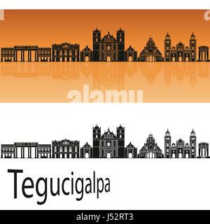 Tegucigalpa skyline in orange background in editable vector file - Stock Photo