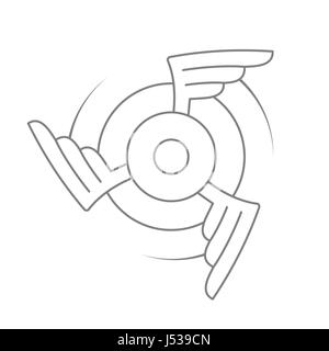 Aviation emblem, badge or logo. Military or civil aviation icon. Air force symbol. Rotating wings design. Vector - Stock Photo