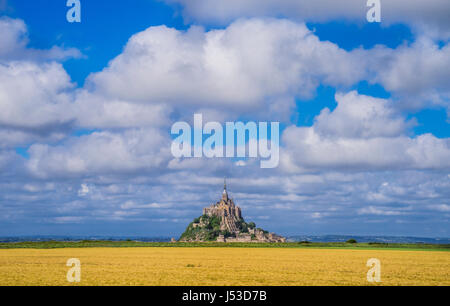 France, Normandy, view of Mont Saint-Michel from the salt marshes in the estuary of Couesnon River - Stock Photo