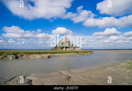 France, Normandy, view of Mont Saint-Michel in the estuary of Couesnon River - Stock Photo