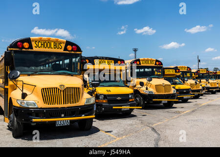 Cincinnati - Circa May 2017: Yellow School Buses in a District Lot Waiting to Depart for Students III - Stock Photo