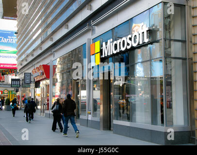 New York, May 08, 2017: People walk by a Microsoft office in Manhattan. - Stock Photo
