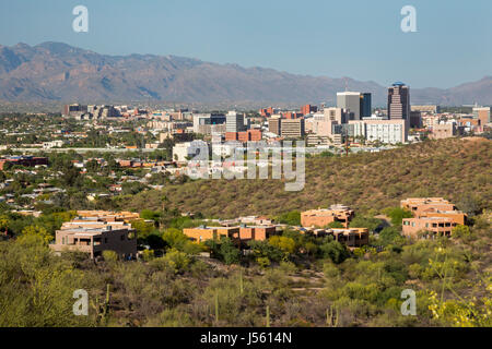 Tucson, Arizona, with the Santa Catalina Mountains in the background. - Stock Photo