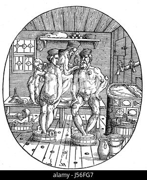 Situation in a Bathing house in the 16. century, Cupping therapy, Badestube, Familie wird vom Bader geschroepft, - Stock Photo