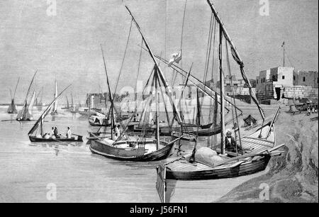 Harbour of Luxor, Egypt, Hafen von Luxor, Aegypten, digital improved reproduction from a publication of the year - Stock Photo
