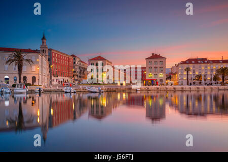 Split. Beautiful romantic old town of Split during beautiful sunrise. Croatia,Europe. - Stock Photo
