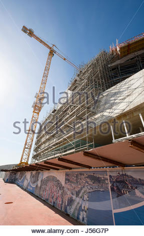 Cruise ship terminal under construction, Leixões harbor, Matosinhos, Norte, Portugal - Stock Photo