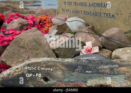 Russian Convoy Club Loch Ewe War Memorial to the crews lost on Russian Convoys, Rubha nan Sasan, Cove, Wester Ross, - Stock Photo