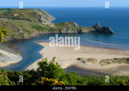 Three Cliffs Bay from Notts Hill Gower Wales - Stock Photo