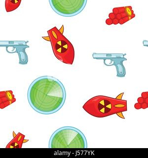 Weaponry pattern, cartoon style - Stock Photo