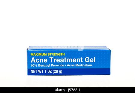 Acne Treatment Gel containing benzoyl peroxide. - Stock Photo