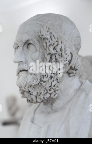 Marble bust of ancient Greek poet Homer. Roman copy from the 2nd century AD after a Greek original from the 1st - Stock Photo