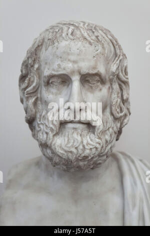 Marble bust of ancient Greek tragedian Euripides (480-406 BC). Roman copy from the Augustan age after a Greek original - Stock Photo