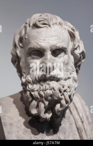 Marble bust of an unknown philosopher or poet. Roman copy from the 1st century AD after a Greek original found in - Stock Photo