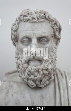 Marble bust of ancient Greek tragedian Aeschylus (525-456 BC). Roman copy from the Augustan age after a Greek original - Stock Photo