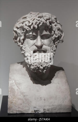 Marble bust of an unknown philosopher or ruler. Roman copy from the 1st century AD after a Greek original found - Stock Photo