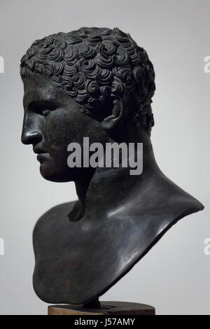 Male portrait. Roman bronze bust from the 1st century AD found in the tablinum in the Villa dei Papiri (Villa of - Stock Photo