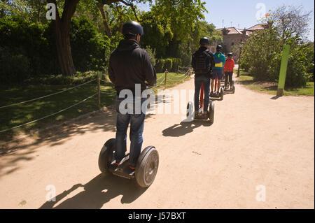 Tourists on Segway tour in Barcelona Spain ES EU - Stock Photo
