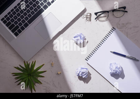 Flat lay, top view of open notebook waiting for idea - Stock Photo
