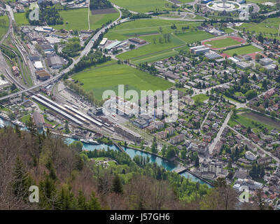 Switzerland Interlaken and Interlaken Ost station from Harder Kulm with the river Aare between the two lakes Brienz - Stock Photo