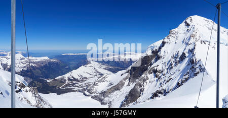 Switzerland the view from the Jungfraujoch plateau at 3454m 11333ft towards Grindelwald - Stock Photo