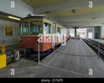 Switzerland Murren the railway station and mountain train to Grutschalp via Winteregg - Stock Photo