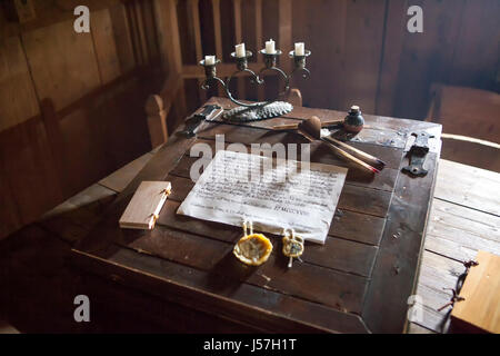 The writing desk in the bedroom of the reconstructed medieval house, Nienover, Bodenfelde, Lower Saxony, Germany - Stock Photo