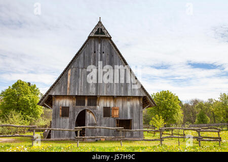 The reconstructed medieval house, Nienover, Bodenfelde, Lower Saxony, Germany - Stock Photo