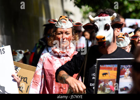 People protesting against Bullfighting during a demonstration march which ended outside the Spanish embassy in London. - Stock Photo