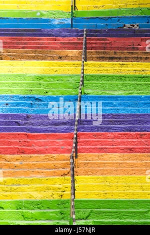 Istanbul, Turkey - April 25, 2016: stairs painted in rainbow colors in Istanbul, Turkey. Istanbul, Turkey - Stock Photo