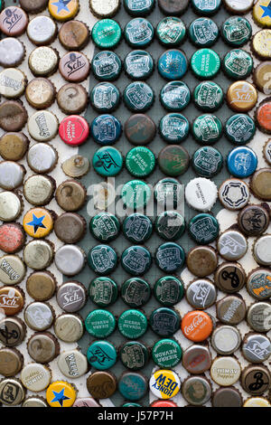 Assorted bottle caps - Stock Photo