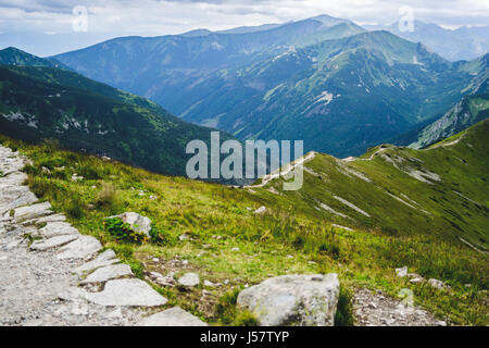 Hiking trail in the Tatra mountains in summer seen from the Kasprowy Wierch. - Stock Photo