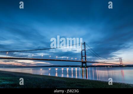 Humber Bridge at dusk - Stock Photo
