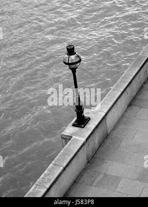 stone,bw,london,england,thames,shiner,light,lamp,luminary,day,water - Stock Photo