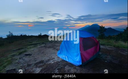 Sunrise view at golden hour from High Peak Mount Prau Savana Indonesia