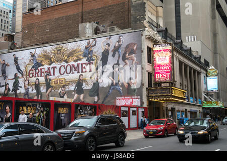 Great Comet of 1812 Marquee at the Imperial Theatre in Times Square, New York City, USA - Stock Photo