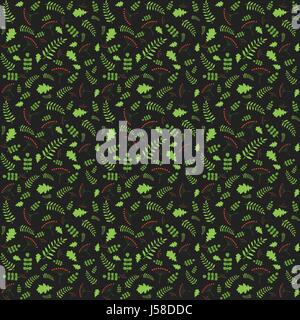 Pattern with autumn leaves of different trees. Vector illustrati - Stock Photo