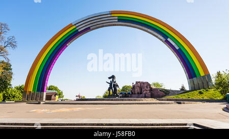 travel to Ukraine - view of rainbow painted Arch of Diversity (Friendship of Nations Arch, Arch of Friendship of - Stock Photo