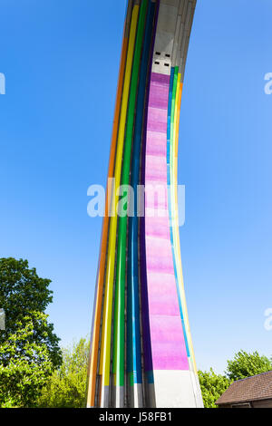 travel to Ukraine - detail of rainbow painted Arch of Diversity (Friendship of Nations Arch, Arch of Friendship - Stock Photo