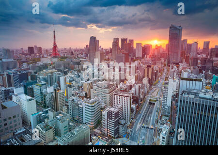 Tokyo. Cityscape image of Tokyo, Japan during sunset. - Stock Photo