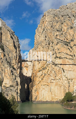 near Ardales, Malaga Province, Andalusia, southern Spain.  Visitors on the El Caminito del Rey or The King´s Walkway. The walkway is built into the si