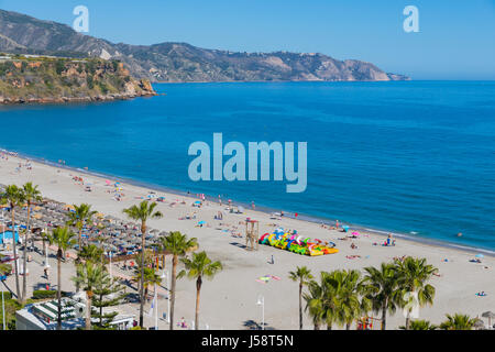 Nerja, Costa del Sol, Malaga Province, Andalusia, southern Spain.  Burriana beach. - Stock Photo