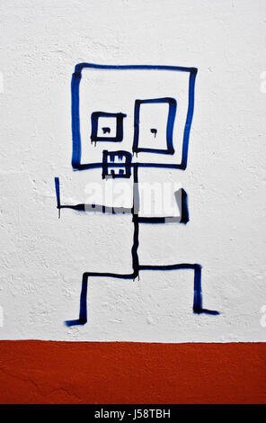 blue art colour wild switzerland daub graffiti grafitti facade frowningly - Stock Photo