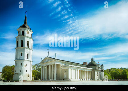 View of Bell tower and Cathedral Basilica and Cathedral square in Vilnius, Lithuania - Stock Photo