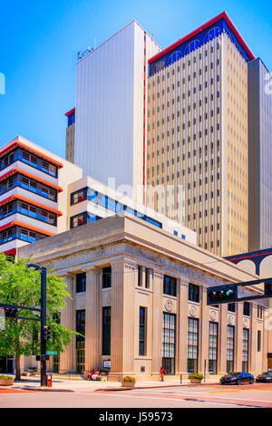 The Vault building on the corner of Twigg and Franklin in downtown Tampa FL - Stock Photo