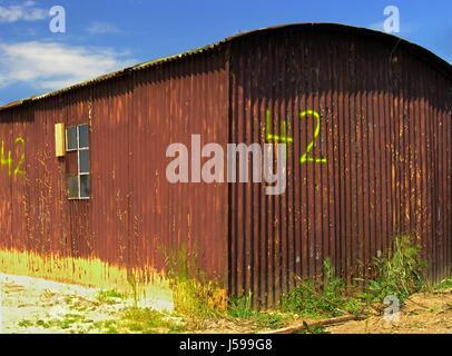 blue sunlight daylight corrugated sheet iron myth response firmament sky - Stock Photo