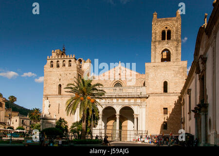MONREALE ITALY - October 13, 2009: The Monreale Cathedral built in mix of different styles - Byzantine, French, - Stock Photo